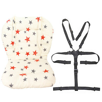 Baby Stroller/High Chair Seat Cushion Pad Cover and Straps 1 Suit (Star)