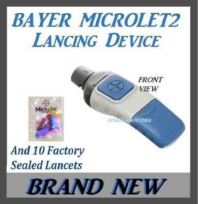 NEW Bayer Microlet 2 ADJUSTABLE Finger Lancing Device and 10 Sealed Lancets