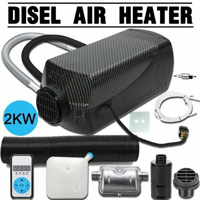 12V 2KW Diesel Air Heater Tank Digital Thermostat Silencer Filter Vent Duct FK