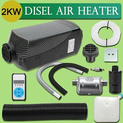 12V 2KW Diesel Air Heater Tank Vent Duct Digital Thermostat Silencer Caravan FK