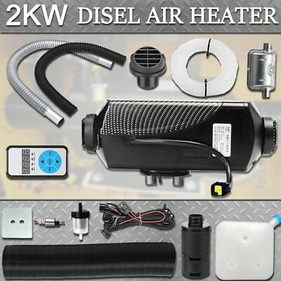 12V 2KW Diesel Air Heater Tank Vent Pump Silencer Fliter Digital Switch FK