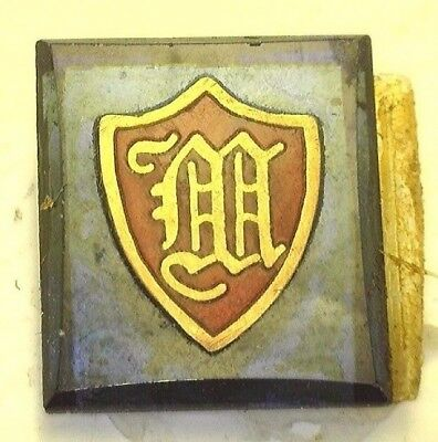 NOS Antique Vintage Deco Blue Rectangle Stone w/ Initial M Old English #B1