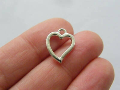 BULK 30 Heart charms silver plated tone H198