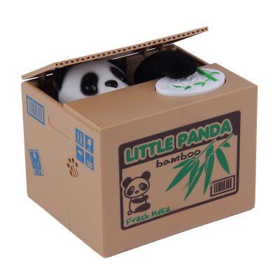 Lovely Kids Automated Panda Steal Coin Bank Money Saving Box Pot Case Gifts BS