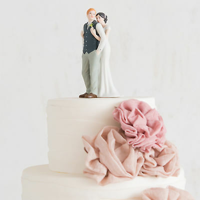 Hand Painted Porcelain Cake Topper A Sweet Embrace Bride and Groom