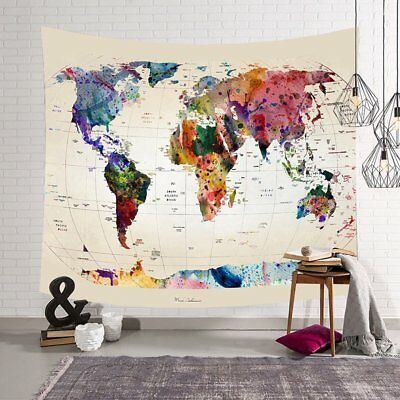 Cloth Casual Bedroom Colourful World Map Nursery Kids Removable Wall Stickers BS