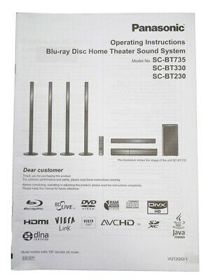 Panasonic Owner Manual Guide/Instructions Book for Blu-ray CH SC-BT735/330/230