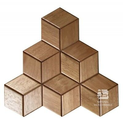 Natural Solid Wood Wall Panel Doussie Hexagon Shape Cube Decor 3D Samples