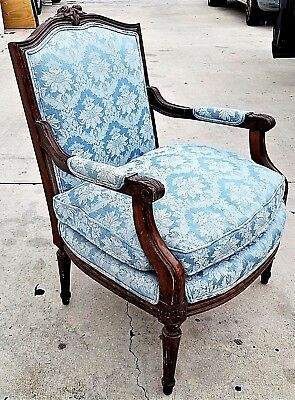 Antique Vtg French Provincial Louis XV Hand Carved Wood Down Bergere Armchair