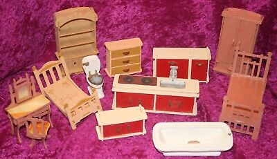 Job Lot of Vintage Distressed Dolls House Furniture Requires TLC. Sold as Found.