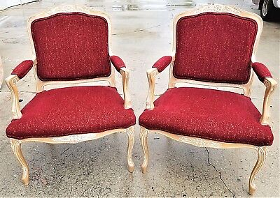 Lovely Pair Of Hand Carved French Provincial Louis XV Style Bergere Armchairs
