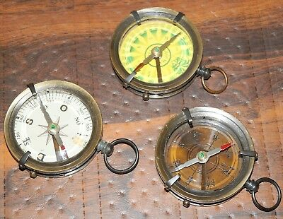 Lot of 3 pcs Antique Finish Brass Compass Old Vintage Pocket Style 2.5 inch Gift