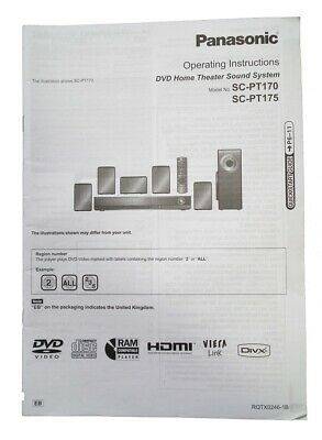 Panasonic Owner Manual Guide/Instructions Book for DVD Home Cinema SC-PT170/175
