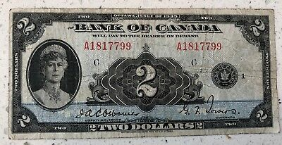 1935 $2 Two Dollar The Bank of Canada Bank Note
