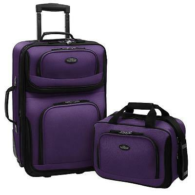 2 Piece Expandable Luggage Set Carry On Tote Bag Travel Rolling Suitcase Purple