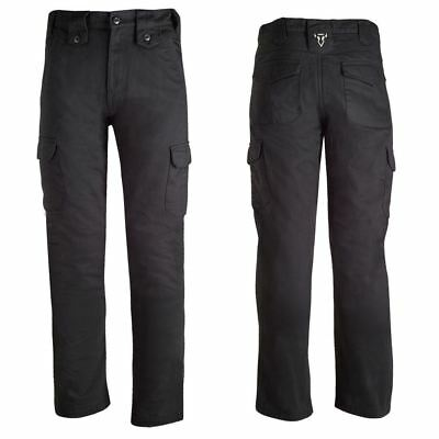 Bull-It Mens SR6 Cargo Armoured Motorcycle Motorbike Jeans Easy Fit Black