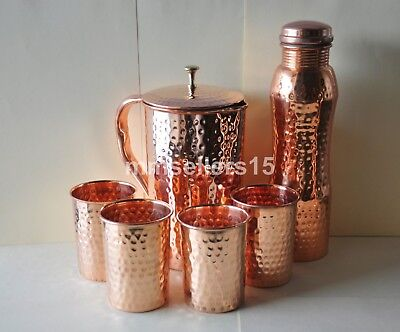 Pure Copper Handmade Hammered Jug Water Pitcher 1.5 L, Bottle 950 ml, 4 Cups Mug