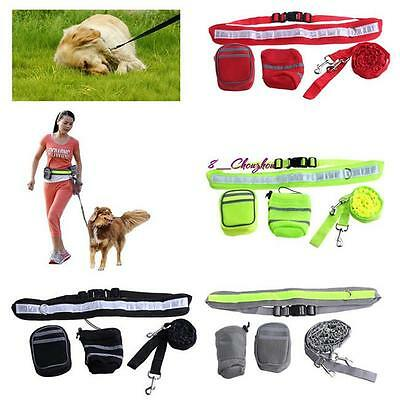 Pet Dog Lead Adjustable Waist Belt Leash Bungee Harness Hands Free Running N7