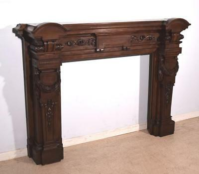 French Antique Louis XVI Style Fireplace Surround/Mantel in Walnut