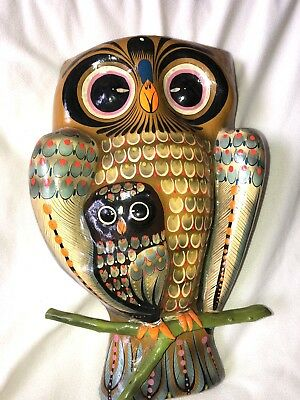 Vintage Paper Mache Owl Bird With Baby Owl Mexico Artist Signed