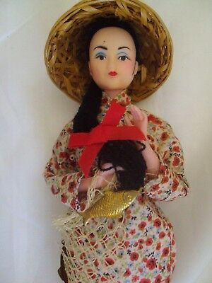 """VINTAGE plastic CHINESE DOLL 10.5"""" COSTUME ON STAND"""
