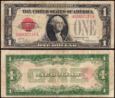 *SCARCE* 1928 $1 RED SEAL Funnyback US Legal Tender Note! FREE SHIP! A00662137A