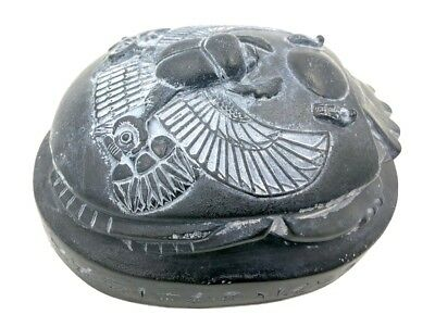 Egyptian Scarab Beetle Rising Sun Home School Hieroglyphs Paperweight Black