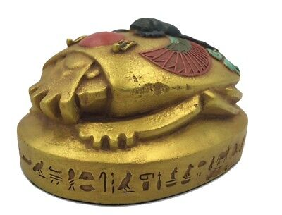 Egyptian Scarab Beetle Rising Sun Home School Hieroglyphs Paperweight Hand Sized