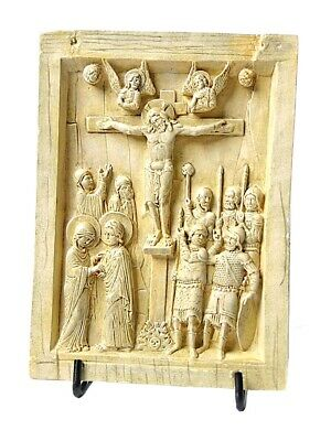 Byzantine Icon Tablet with Christ on Cross Crucifixion Replica Parastone 6.25H