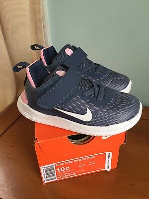 official photos c53a4 7459b NIB NIKE FREE Rn Size 10 Toddler Girls Shoes Diffused Blue White