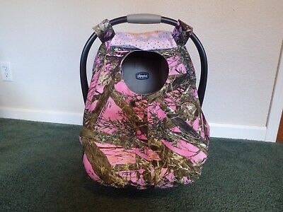 **PINK TRUE TIMBER**camo fitted w/peekaboo front Handmade Car Seat Canopy