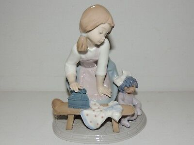 """Lladro # 5782 """"my Chores"""" Girl Ironing With Dolly"""