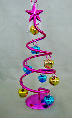 "Retro Spiral Jingle Bell Pink Christmas Tree 6"" Metallic Ornament NEW"