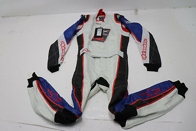 New Alpinestars GP Tech Fire Suit, Silver/Blue/Red, Euro 58 SFI 3.2A/5 - FIA