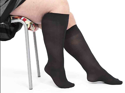 2 x Pairs Plus Size Wide XL MICROFIBRE 40 Denier Knee-High Pop Socks BLACK
