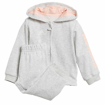 adidas Linear Full Zip Jogger Infant Girls Hoodie Tracksuit Set Grey/Coral