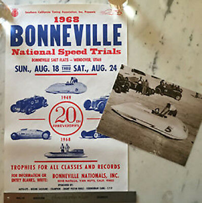 REDUCED 68 Bonneville Nationals Land Speed Racing Poster Hot Rat Rod SCTA + card