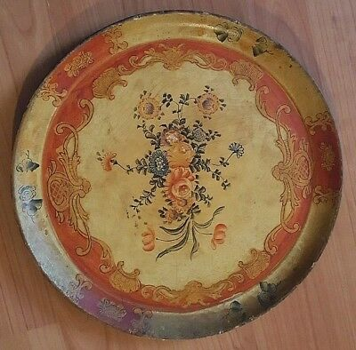 Antique/vintage Japan Tole Painted Floral Wood Tray Folk Art-Beautiful Patina!!