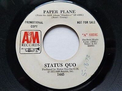 STATUS QUO - Paper Plane / All the Reasons 1972 PROMO HARD ROCK 7""