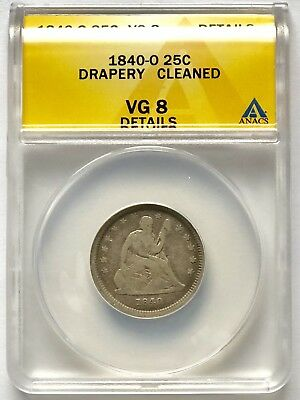 1840-O with Drapery Seated Liberty Quarter - ANACS VG8 Details (Cleaned)