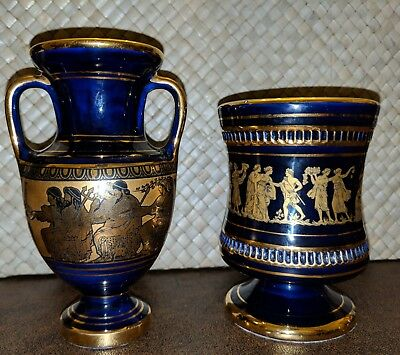 Spyropoulos Vase and Cup Hand Made Greece 24 K Gold Blue Porcelain