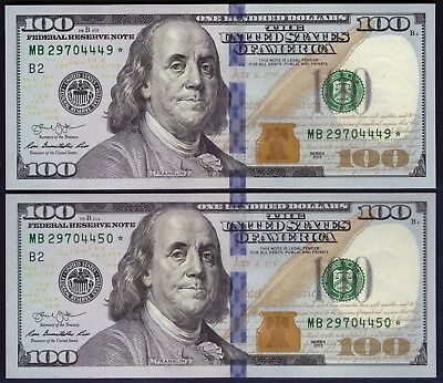 """""""STAR"""" USA - 100 Dollars 2013 - Federal Reserve Note - UNC - 2 x in Cont Order"""
