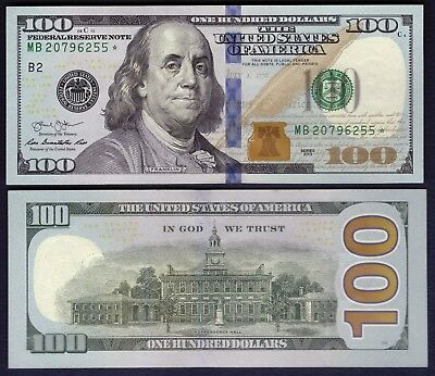 """""""STAR"""" USA - 100 Dollars 2013 - Federal Reserve Note - AU+ - # MB20796255*"""