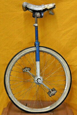 Vintage Unicycle 1970s 24in Blue Chrome Retro High End Support Free Bike Program