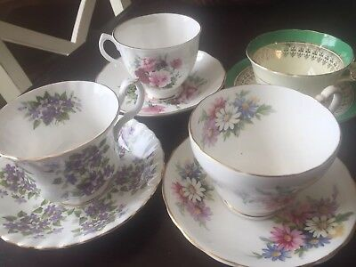 Lot of 4 Vintage Tea Cup and Saucer Sets - Fine Bone China Made In England
