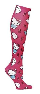 1X Nurse Mates Hello Kitty Theme 18mmHg Knit Compression Socks Fits Size 4-10