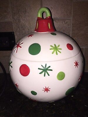 Real Home Christmas Ornament Holiday Ceramic Cookie Candy Treat Jar Canister