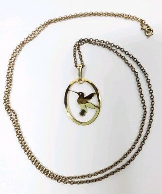 Wild Bryde Hummingbird Gold-plated Pendant w/Gold-filled Chain Necklace Jewelry