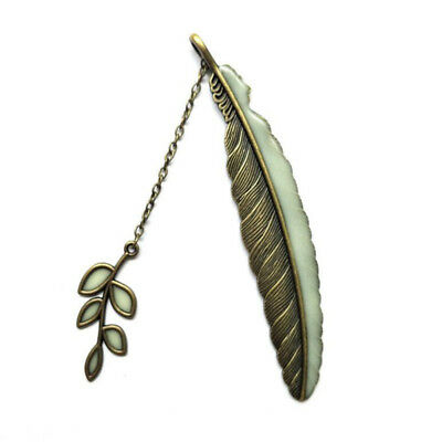 Retro Leaves Feather Bookmark Reading Luminous Book Mark Collection N7