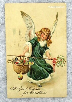 Antique 1911 Victorian Christmas Postcard ~ Angel Carrying Basket Childs Toys